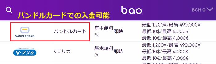 バオカジノは公式サイトでバンドルカード入金対応と記載
